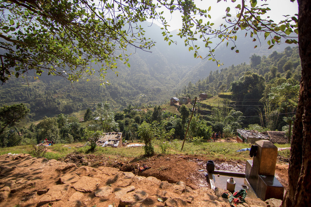 The beautiful view of the valley below from Kishan's house in the North of the village above the school.