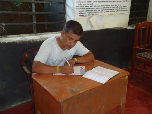 Bikram writing up report visit