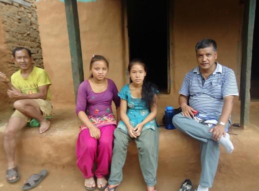 Bikram with Urmila & Puspanjali in Bhujel village
