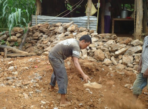 Re-bulding Harishchandra's house in Aandhimul