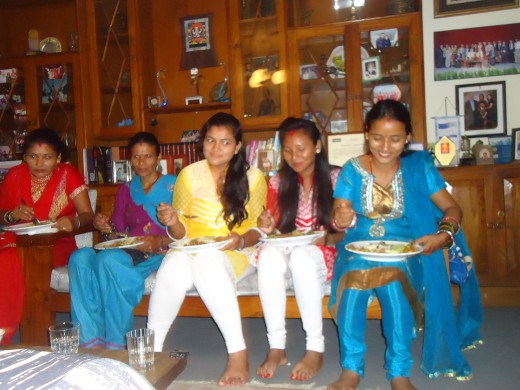 sarita at dinner in Ela Piya's house in Kathmandu