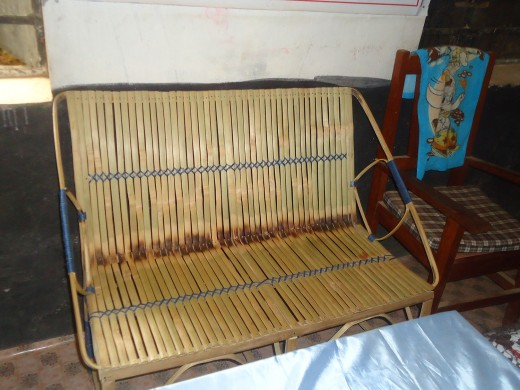 New bamboo chair made by one of the school committee members, Resham.
